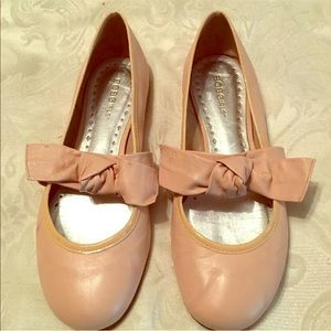 Bcbg blush pink leather lace up bow ballet flats